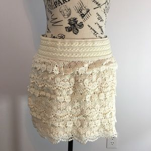 AMERICAN RAG STRETCH IVORY OFF LACE TIERED SKIRT